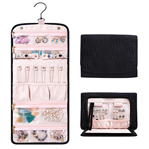 (Travel Hanging Jewelry Organizer with Zippered Pockets - 10.2