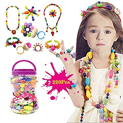 617b4d104766 BigNoseDeer Niños Joyería Arte Pop Beads DIY Kit Pulsera Anillo de Collar  Juguetes educativos 220pcs(