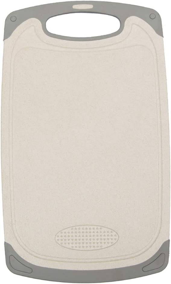 IMPR3·TREE Cutting Board for Kitchen with Easy Grip Handle w/Juice Grooves and Spice Herb Grinder   Dishwasher Safe   BPA-Free, Small (8.26 x 9.65 inch), Beige
