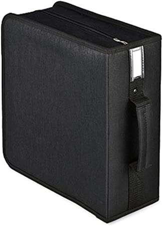 WanuigH-Home Registro de Almacenamiento Estuche de Transporte CD Mano Lleva la Caja de DVD Caja de Almacenamiento portátil de CD 320 Capacidad para los álbumes (Color : Black, Size : 31X30X12.5CM): Amazon.es: