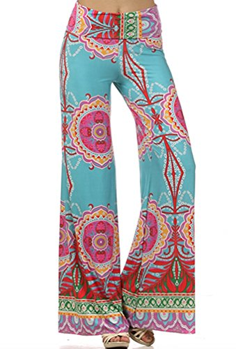 Womens Fold Over Waist Wide Leg Palazzo Pants (L, Teal Tropical)