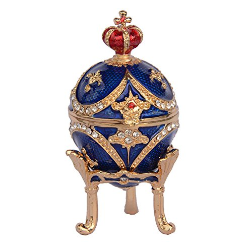 Russian Faberge Style Egg Crystal Jeweled Trinket Jewelry for sale  Delivered anywhere in USA