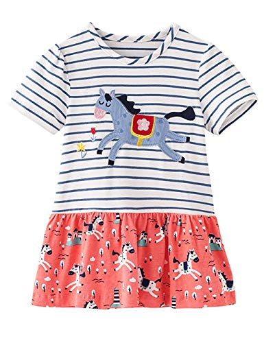 BG LOVE Girls Cotton Dresses 4T Cute Animal Applique Fancy Running Horse Kids' Summer Skirts