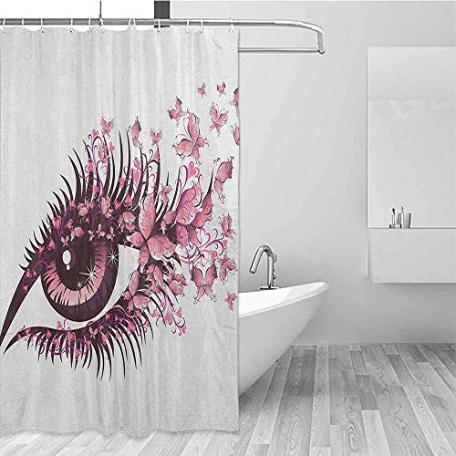 SONGDAYONE Odorless Shower Curtain Butterflies Fairy Female Eye with Butterflies Eyelashes Mascara Stare Party Makeup Decorated Bathroom Pale Pink Purple W48 xL72