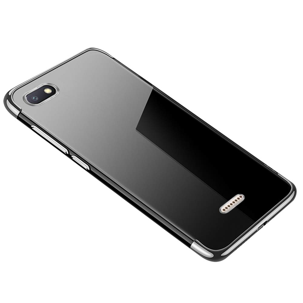 QPOLLY Coque Transparent Compatible avec Xiaomi Redmi 6A Crystal Clair Ultra Mince Souple Silicone Gel TPU Bumper Bordure Color/ée de Placage Antichoc Housse /Étui de Protection,Rouge