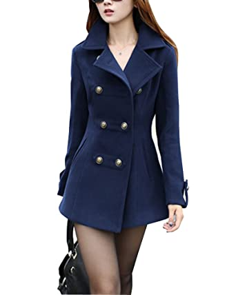 detailed look 59fe6 6c042 Damen Mantel Jacke Trenchcoat Slim Doppel-Breasted ...