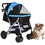 HPZ Pet Rover Premium Heavy Duty Dog/Cat/Pet Stroller Travel Carriage with Convertible Compartment/Zipperless Entry/Reversible Handlebar/Pump-Free Rubber Tires for Small, Medium, Large Pets 10