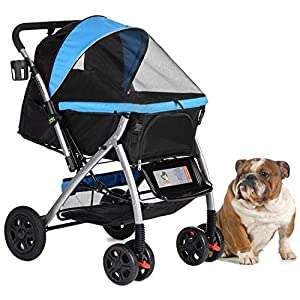 HPZ Pet Rover Premium Heavy Duty Dog/Cat/Pet Stroller Travel Carriage with Convertible Compartment/Zipperless Entry/Reversible Handlebar/Pump-Free Rubber Tires for Small, Medium, Large Pets 24