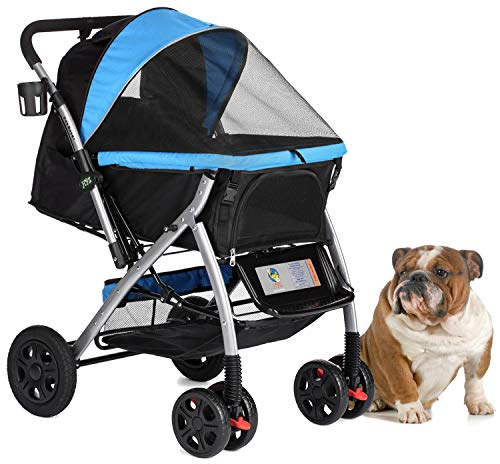 HPZ PET Rover Premium Heavy Duty Dog/Cat/Pet Stroller Travel Carriage with Convertible Compartment/Zipperless Entry/Reversible Handlebar/Pump-Free Rubber Tires for Small, Medium and Large Pets (Blue)