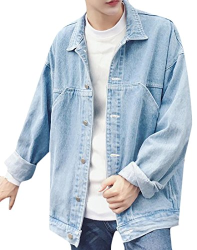 Papijam Mens Loose Fit Distressed Long Sleeve Lapel Denim Jean Jacket Light Blue L