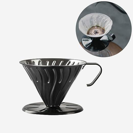 Vierta sobre El Gotero De Café- Acero Inoxidable Filtro De Café De Goteo Lento Cono De Metal Sin Papel Reutilizable Cafetera De Una Sola Taza (Color : Negro): Amazon.es: Hogar