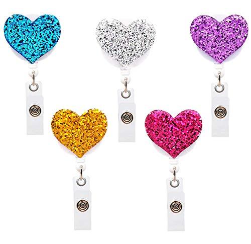 Bling Heart Bling (Love Heart Retractable Badge Holder, luushopp ID Badge Reel with Alligator Swivel Clip,5 pcs …)