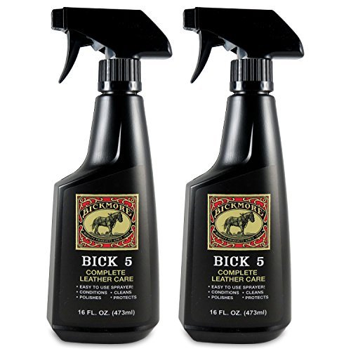 Bickmore Bick 5 Leather Cleaner & Conditioner Spray 16oz (2-Pack) - Leather Conditioner Spray for Large Surfaces - Leather Couches, Upholstery, Jackets, Handbags, Purses, Auto Interiors, Shoes, Boot (Spray Horse Trigger)