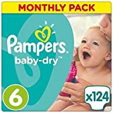 Pampers Baby-Dry 124 Nappies with 3 Absorbing Channels, 15+ kg, Size 6