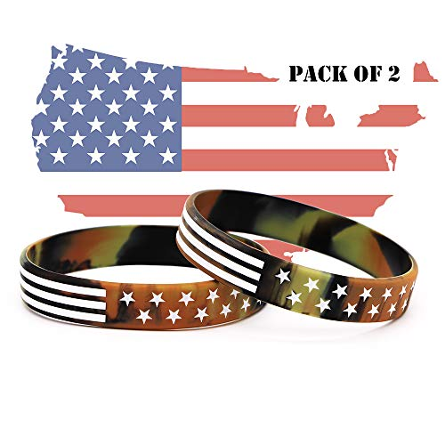 AVEC JOIE USA Rubber Wristbands Silicone Bracelet with American Flag in Black and Army Green for American Patriots, Army and Sport Fans (Silicone Thick Wristbands)