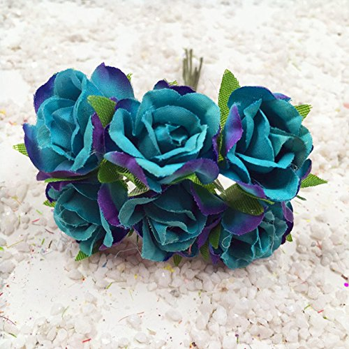 ShineBear 60 PCS/(2.5 cm) Artificial Silk Roses Bouquet Home Decoration DIY Wedding Garland Collage Decorative Artificial Flowers - (Color: Peacock Blue) ()