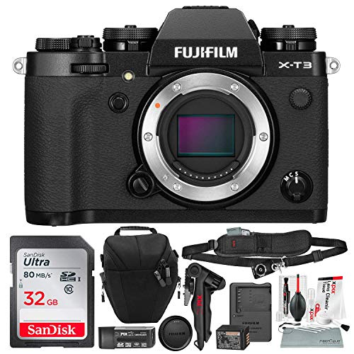 FUJIFILM X-T3 Mirrorless Digital Camera (Black) with 32GB Card and Tripod Accessory Bundle