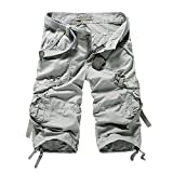 Yin Chen Mens Casual Slim Fit Cotton Solid Multi-Pocket Cargo Shorts,2-white Grey,Size 34