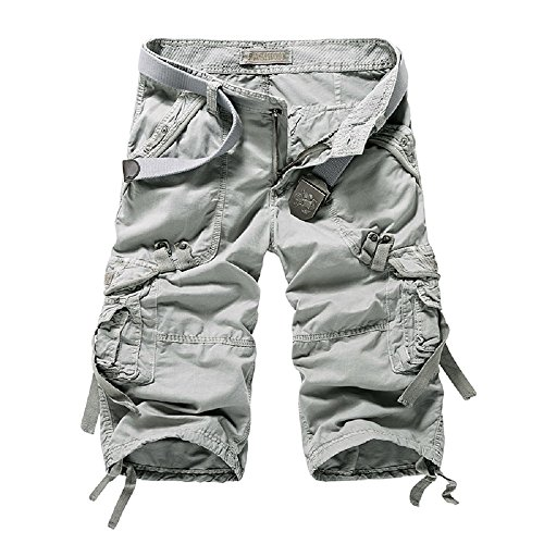 e227ece065 Yin Chen Mens Cargo Shorts Relaxed Fit Chinos Khaki Capri Tactical Pants  with Pockets