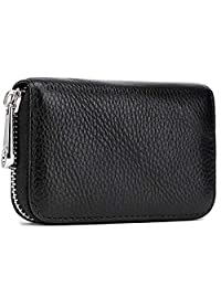 Meowoo Credit Card Holder Wallet for Men Women,RFID Blocking Genuine Leather Zipper Accordion Wallet