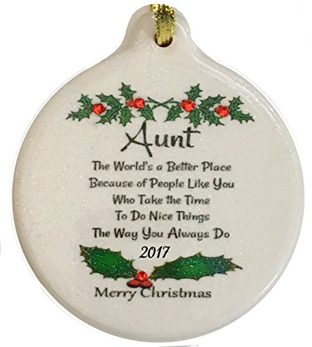 Laurie G Creations Wonderful Aunt 2018 Christmas Porcelain Ornament Rhinestone Special Favorite