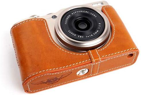 Handmade Genuine Real Leather Half Camera Case Bag Cover for FUJIFILM X-F10 XF10 Tan Color