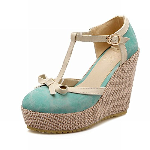 Heel Cute Blue Carol Platform Wedge Sandals Shoes High Buckle Elegance strap Bows Womens T Sweet aRnw7Caq