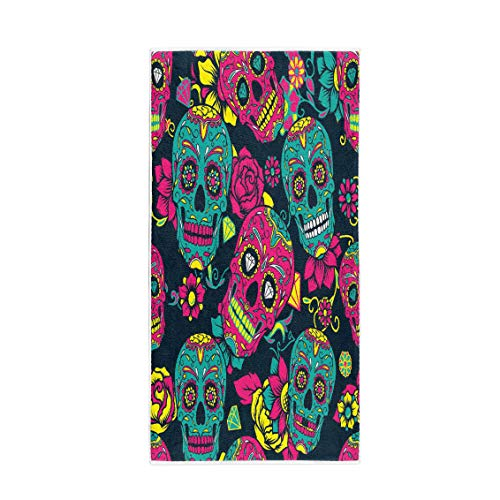 Semtomn 30 x 60 Inches Bath Towel Pattern Colorful Sugar Skull Floral and Flower Dead Day Soft Absorbent Travel Guest Decor Hand Towels Washcloth for Bathroom(One Side Printing)