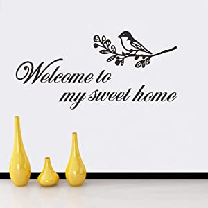 Welcome to My Sweet Home Decal English Lettering Saying Words Vinyl Stickers, Removable Bird On Tree Branch Art DIY Quote Sticker Mural for Bedroom Living Room Office Home Window Door Decoration