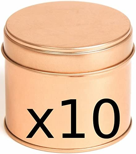 ROSE GOLD UK 12 X EMPTY TINS FOR CANDLE MAKING OR STORAGE TIN SILVER OR GOLD