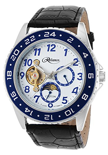 Croton Re306081ssbl Men's Reliance Auto Black Gen Leather White Dial Blue Bezel Base Metal - Mens Dial Croton White