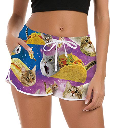Women's Swimming Shorts Junior Girls Pizza Cat Board Shorts Fashion Beach Unique Tropical Surf Boxer Lounge Pattern Swim Trunks Camp Swimsuit Bottom Active Beachwear Cover Ups Loose Sweatpants XL ()