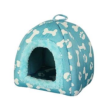 JEELINBORE Estampado Casa para Mascota Plegable Suave Caseta Cama para Perro o Gato (27 * 27 * 33cm, Azul): Amazon.es: Hogar