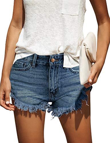 (ACKKIA Women's Casual Mid Rise Cuffed Frayed Raw Hem Pockets Denim Jean Shorts Blue Color Size)