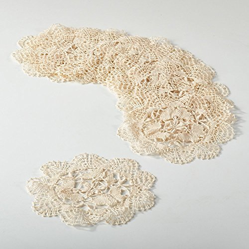 Fennco Styles Handmade All-over Cluny Lace Cotton Doilies, 6 Inches Round, Beige (12)