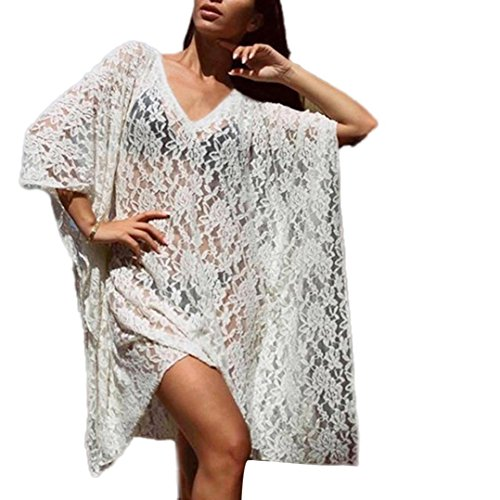 Ruhiku GW Women Fashion Half Sleeve Lace Long Suit Bikini Swimwear Beach Sexy Swimsuit Smock (White, S)