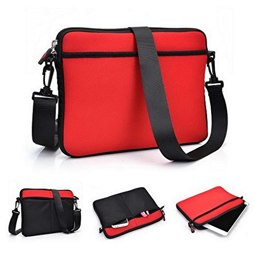 Kroo Tablet Sleeve mit abnehmbarem Tragegurt Neopren Schutzhülle für Plum Link II Tablet grau grau rot