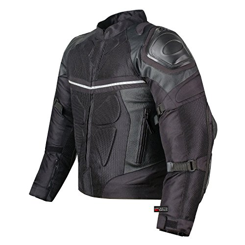 PRO LEATHER & MESH MOTORCYCLE WATERPROOF JACKET BLACK WITH EXTERNAL ARMOR M ()