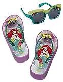 Disney Store Girls Ariel Platform Flip Flops Sandals and Sunglasses Set, Size 11/12