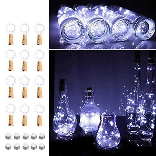 Opard Bottle Lights with Cork Battery Operated 2M 20LEDs Copper Wire Wine Bottle Lamp for Indoor Outdoor Christmas…