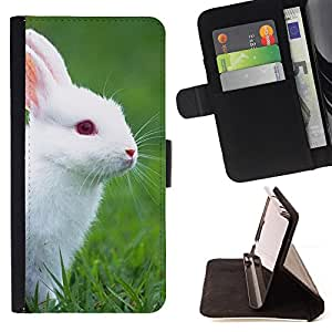 Rabbit Cute White Blue Eyes Grass Nature - Painting Art Smile Face Style Design PU Leather Flip Stand Case Cover FOR Apple Iphone 6 PLUS 5.5 @ The Smurfs