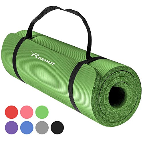 REEHUT 1/2-Inch Extra Thick High Density NBR Exercise Yoga Mat for Pilates,...