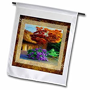 Susan Brown Designs General Themes - Thatched Cottage with Flowers - 12 x 18 inch Garden Flag (fl_99528_1)