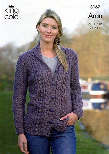 King Cole Ladies Cardigan Waistcoat Merino Aran Knitting Pattern