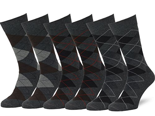 Easton Marlowe Men's Classic Cotton Argyle Dress Socks - 6pk #2-11, Charcoal - 43-46 EU shoe size