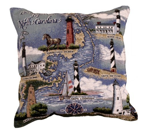 durable service North Carolina Lighthouse Decorative Tapestry Toss Pillow USA Made SKU: RP005244