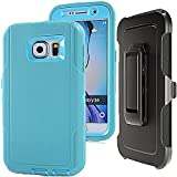 S6 Belt Clip Case - Auker 3 in 1 Defender Shockproof Scratch Drop Resistant Rugged Holster Full Body Protective Heavy Duty Case with Impact Built-in Screen Protector for Samsung Galaxy S6 (Blue)