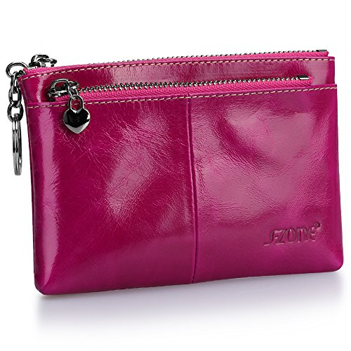 S-ZONE Women's Genuine Leather Mini Wallet Change Coin Purse Card Holder with Key Ring (Fuchsia)