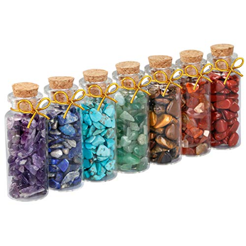 (SUNYIK 7 Chakra Stone Wishing Bottles Set of 7, Tumble Chip Crystal Healing Reiki Wicca Stones Kit)