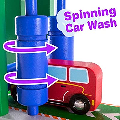 Imagination Generation Rinse & Repair Car Wash and Service Station | 2-in-1 Wooden Playset with Car Wash, Working Elevator, and Ramp | Includes 2 Colorful Toy Cars: Toys & Games